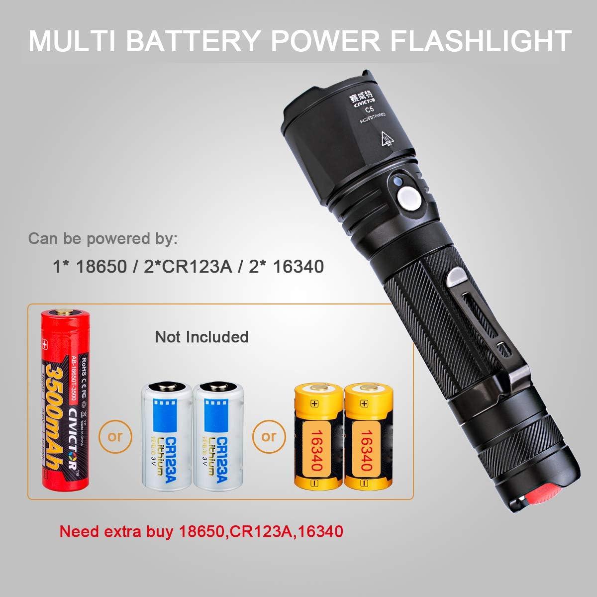 LED Tactical Flashlight Military Grade Torch Super Bright Handheld Light Supply