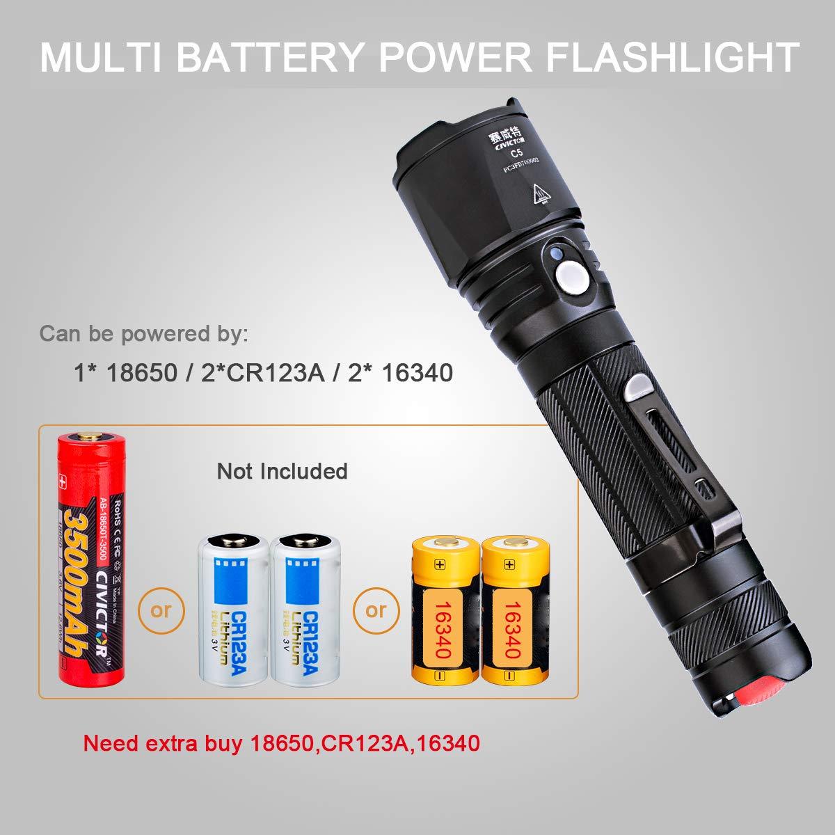 Linternas Led Alta Potencia Largo Alcance 275m Resistente al Agua IPX8 Potente Linterna Recargable Bateria 18650 Pilas Exterior Faroles de mano 900 lumenes ...