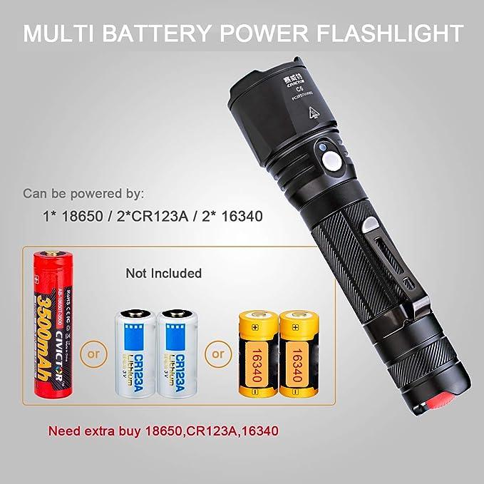7b7afaec63f9a2 ini Lampe Torche Puissante 1000 Lumens CREE Led Lampe Torche Led Exterieur  Batterie 18650 CR123A Etanche