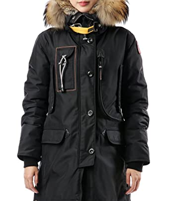 Wiberlux Parajumpers Kodiak Women's Fuzzy Trim Hood Coat XS Black