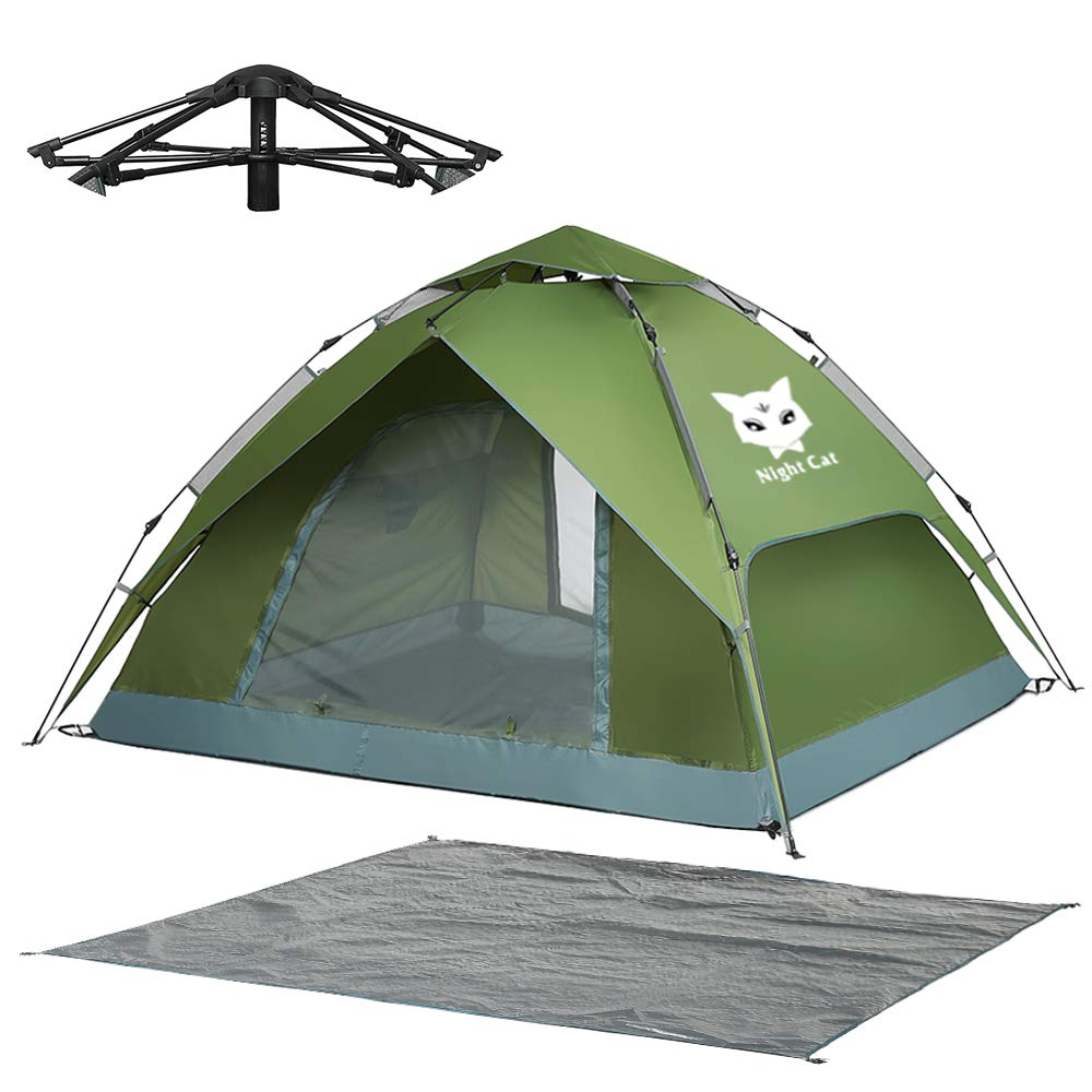 Night Cat Waterproof Camping Tent for 1 2 3 4 Person with Footprint Tarp Easy Instant Pop Up Tent Automatic Hydraulic Rainproof Tent with Rain Fly