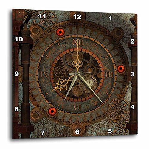 3dRose Heike Köhnen Design Steampunk – Steampunk Clockwork in Rusty Metal – Wall Clocks
