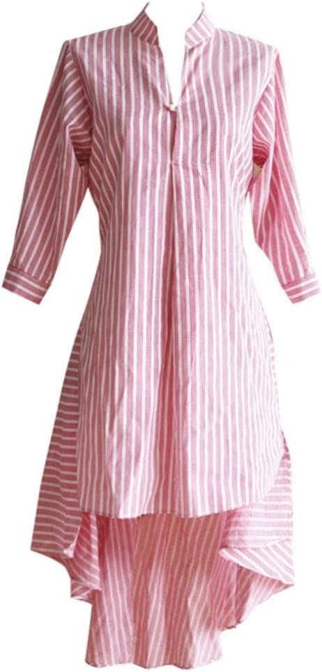 Vestidos Casual Falda Bohemio Falda a Rayas de Camisa de Cola de pez Playa camisón Cena Cuello en V (Color : Pink, Size : L): Amazon.es: Hogar