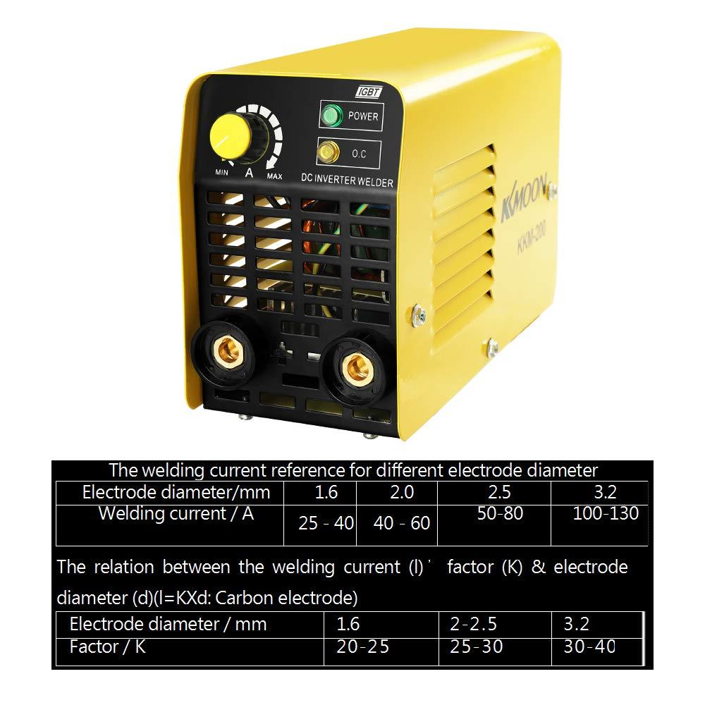 KKmoon Inversores de corriente manual de la soldadora de arco del inversor DC para la industria doméstica KKM-200: Amazon.es: Bricolaje y herramientas