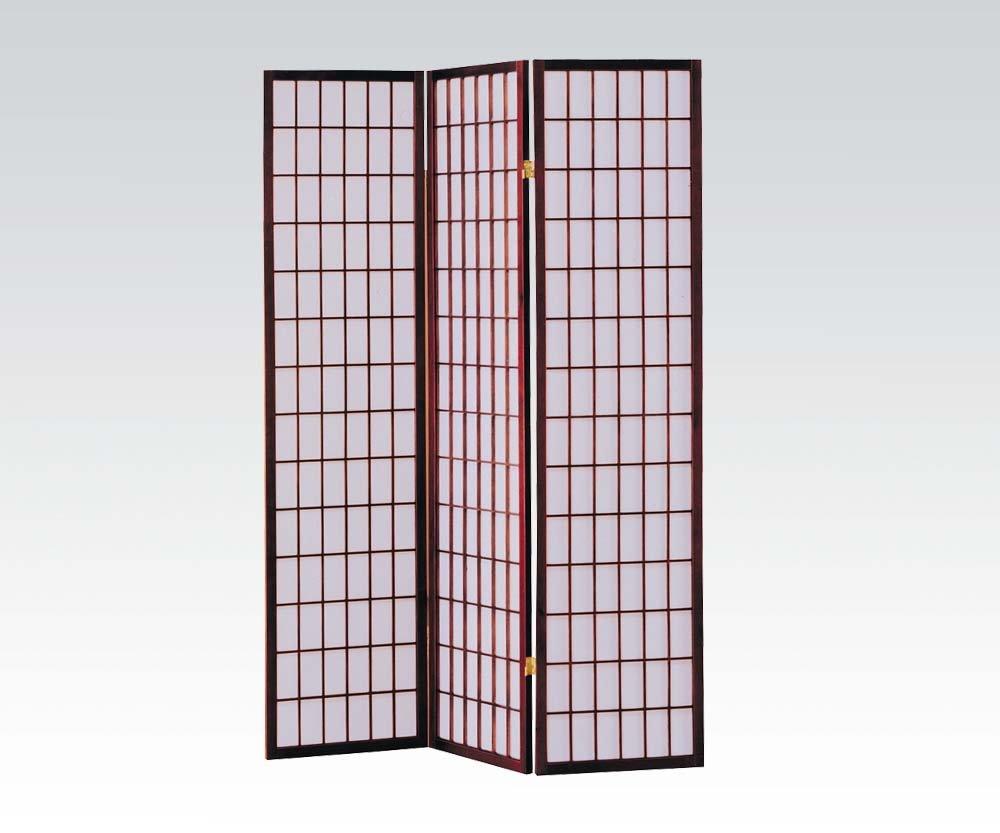 Brand New Naomi (18''x3) x71''H Cherry Finish 3-panels Wooden Screen Room Divider