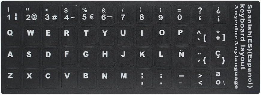 Docooler QWERTY Reemplazo Teclado Pegatina con Grande Letras No Transparente Universal para Ordenador Portátil Cuaderno