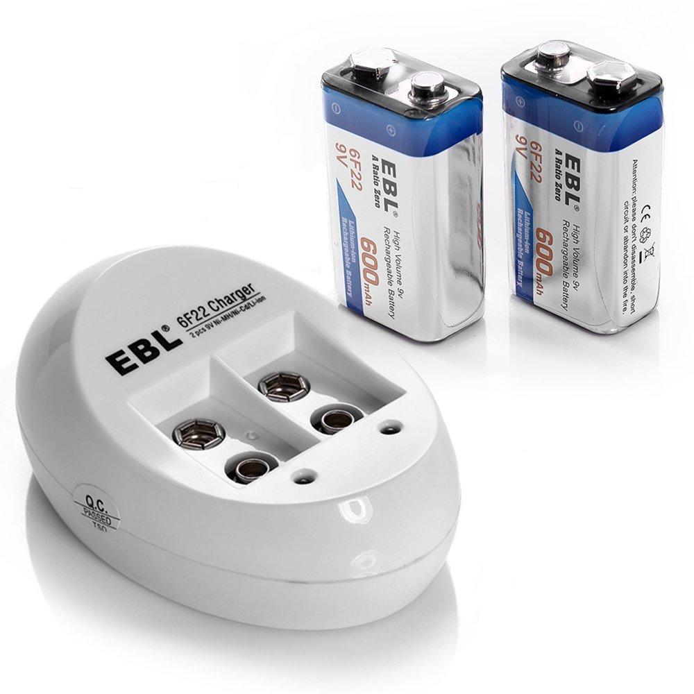EBL 9V Li-ion Rechargeable Batteries (2PC) Smart 9V Battery Charger