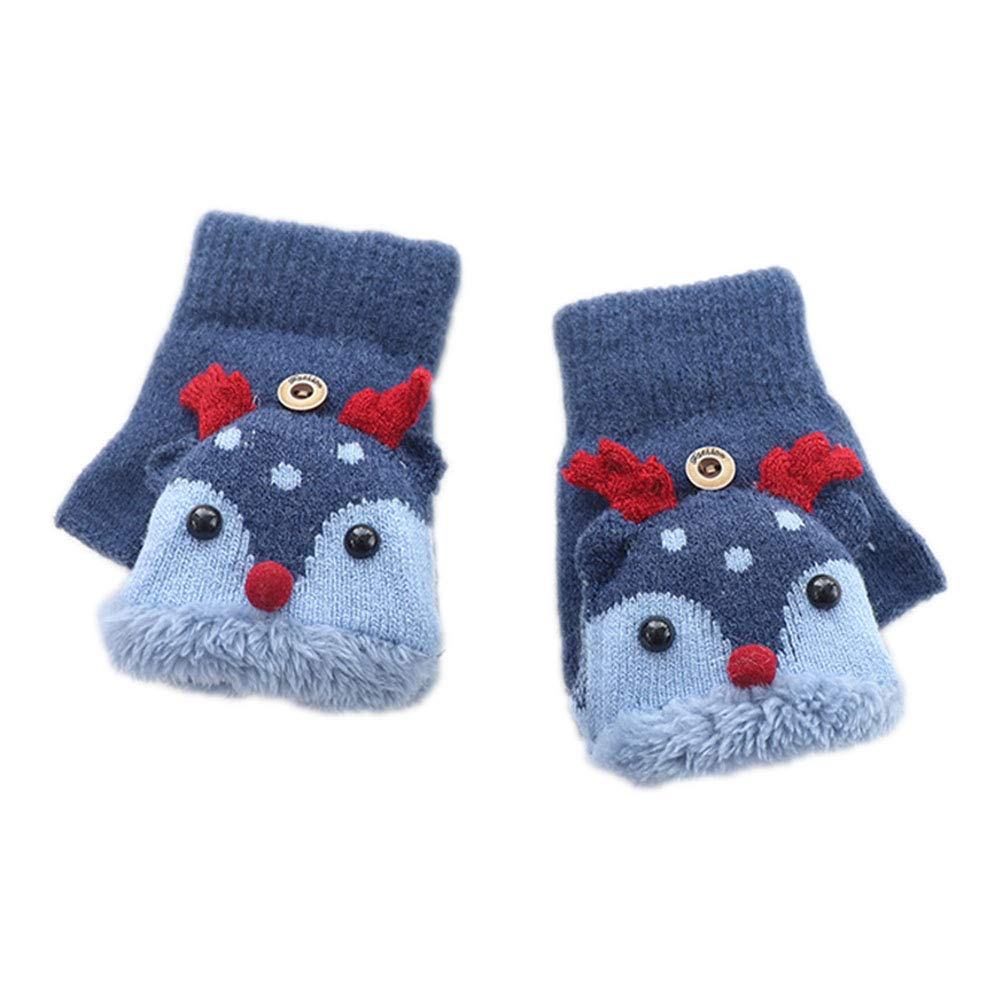 LAAT Baby Girls Boys Cute Thicken Patchwork Winter Warm Gloves Fingerless Mitten Finger Gloves with Flip Top Christmas Gift