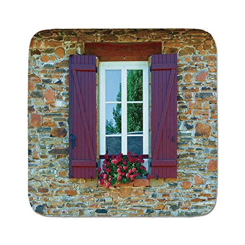 Pads Cushion Area Rug,Shutters Decor,Image of Modern Brick House with Window Shutters and Flowers Mediterranean Style Decor,Brown Red,Easy to Use on Any Surface ()