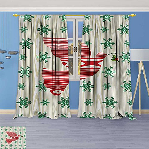 - Antique Decor Collection,bric with Green Snowflakes,Living Room Bedroom Curtain 2 Panels Set, 84W x 72L Inch