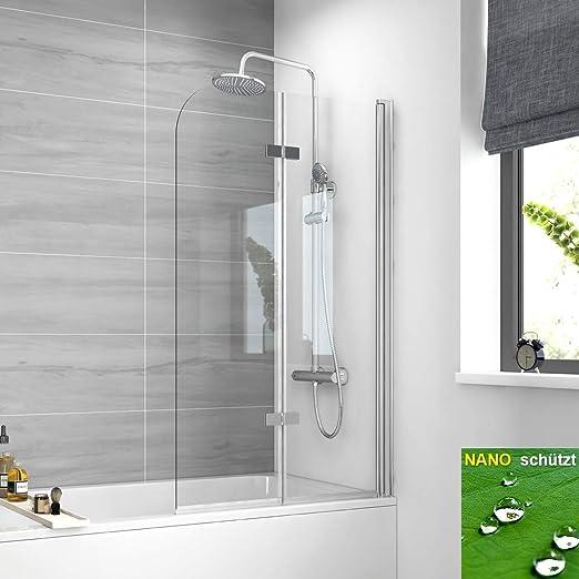 EMKE Mampara Plegable bañera, Ducha o bañera con Cristal Nano Easy ...