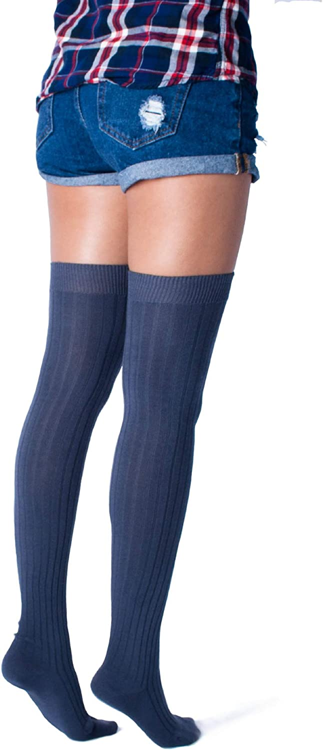 Love Classic Dark Gray Ribbed Cotton Women's Thigh High Socks Over the Knee Boot Leg Warmers 6137XoajLwL