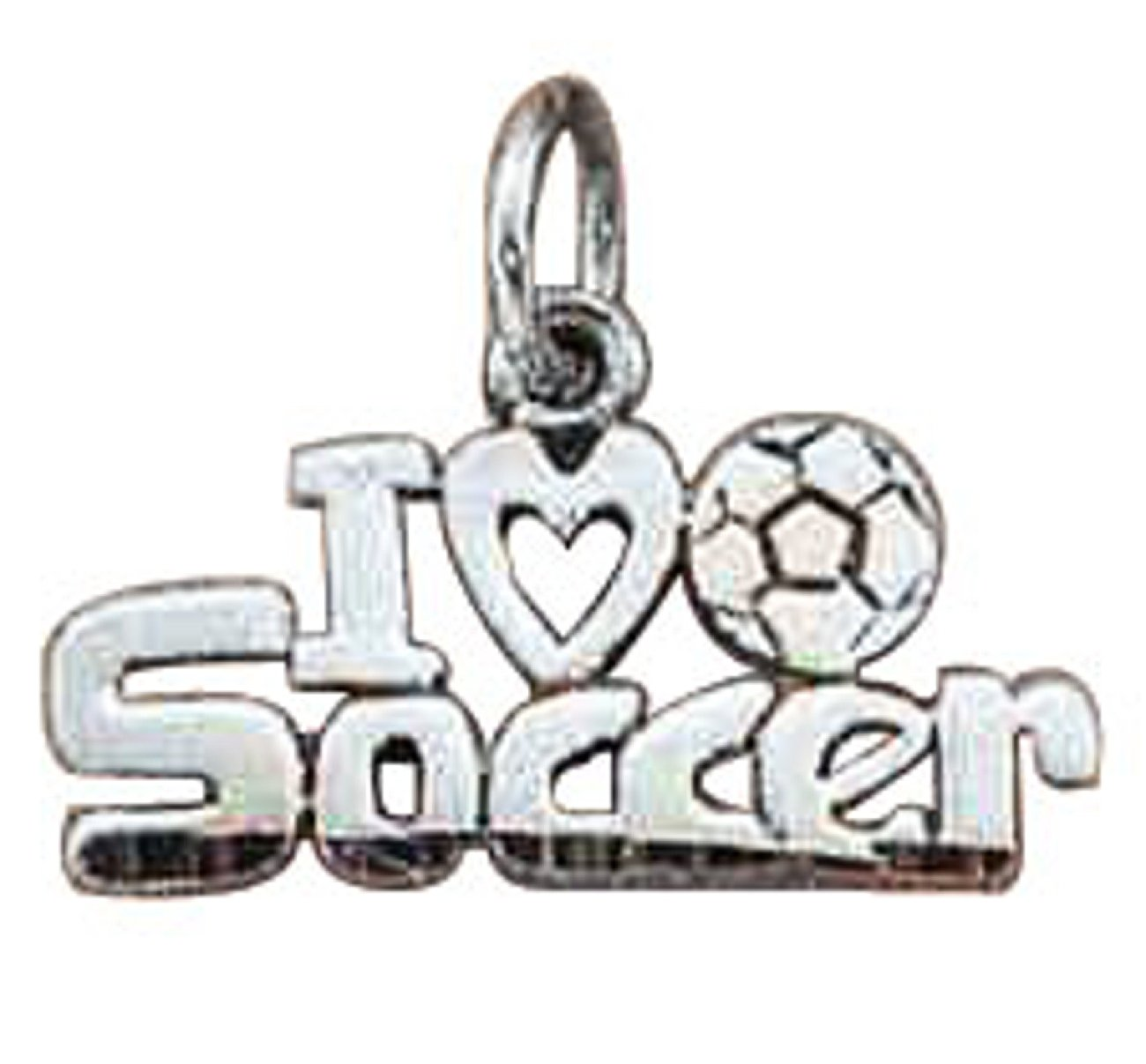 Sterling Silver 30'' Men's 1.5mm Box Chain I LOVE SOCCER Word Sports Pendant Necklace