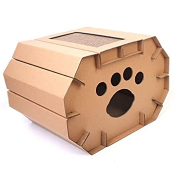 L&XY Cat Scratch Board Cat House Cartulina Reciclable DIY Montaje Scratch Pad Pad Gato Apartamento Interior