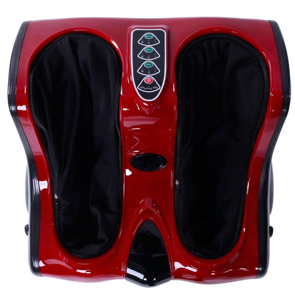 Mefeir Smart Kneading Shiatsu Electric Foot Massager Machine,Rolling Vibration Heating Calf Leg Personal Health Studio Leg Beautician,110V US Plug Red