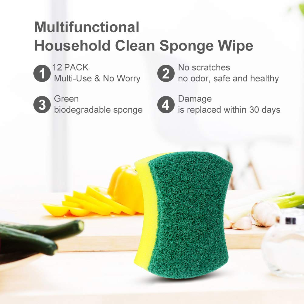 Bathroom Dishes Super Absorbent Multi-Use Cleaning Sponges for Kitchen esafio 12 Pack Non-Scratch Scrub Sponge Car Wash
