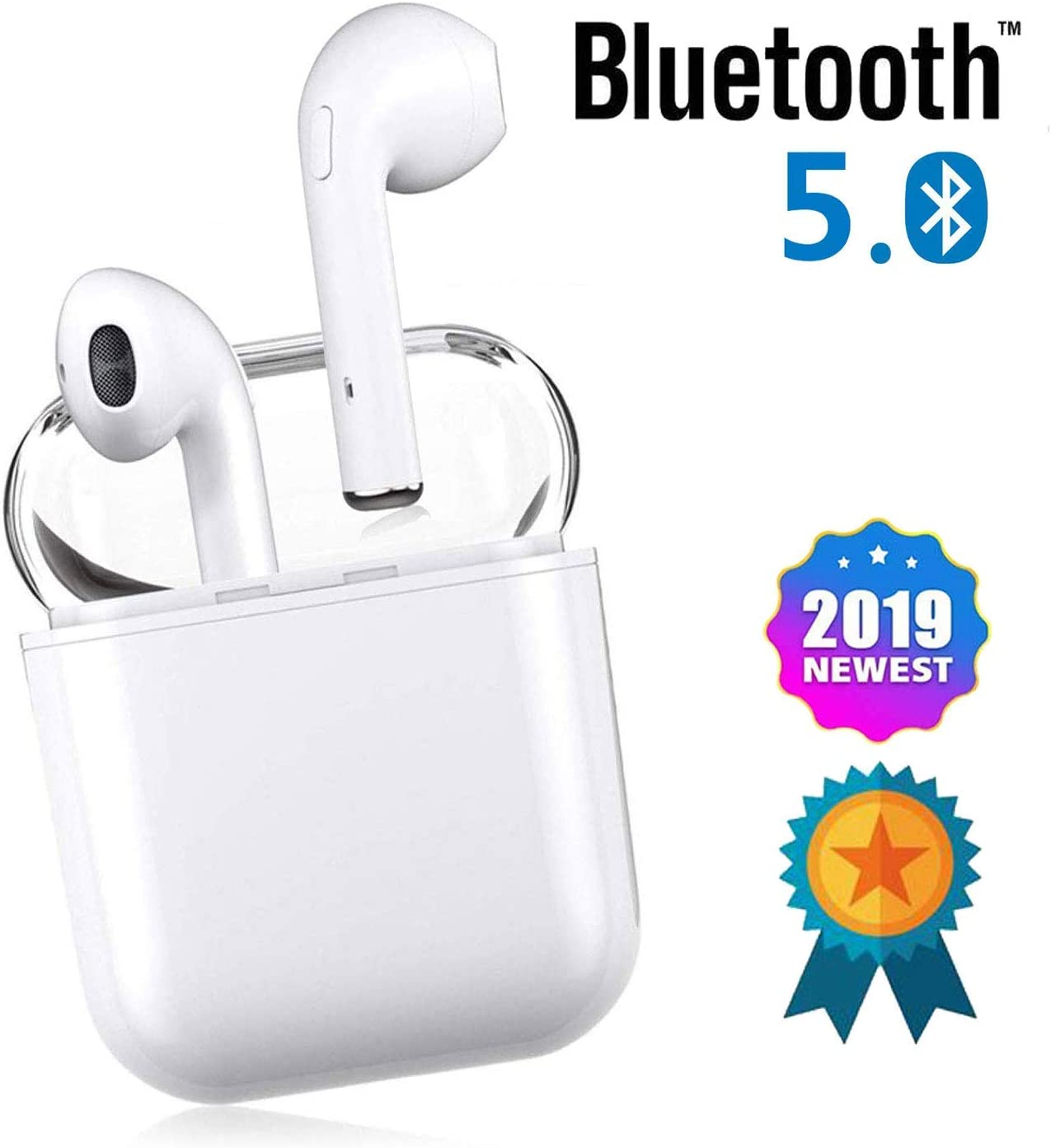 Bluetooth Headset, Wireless Headset Bilateral Call Bluetooth Headset 5.0in-Ear Earphones Stereo in-Ear Microphone Built-in Handsfree Headphones for Apple Airpods Android iPhone