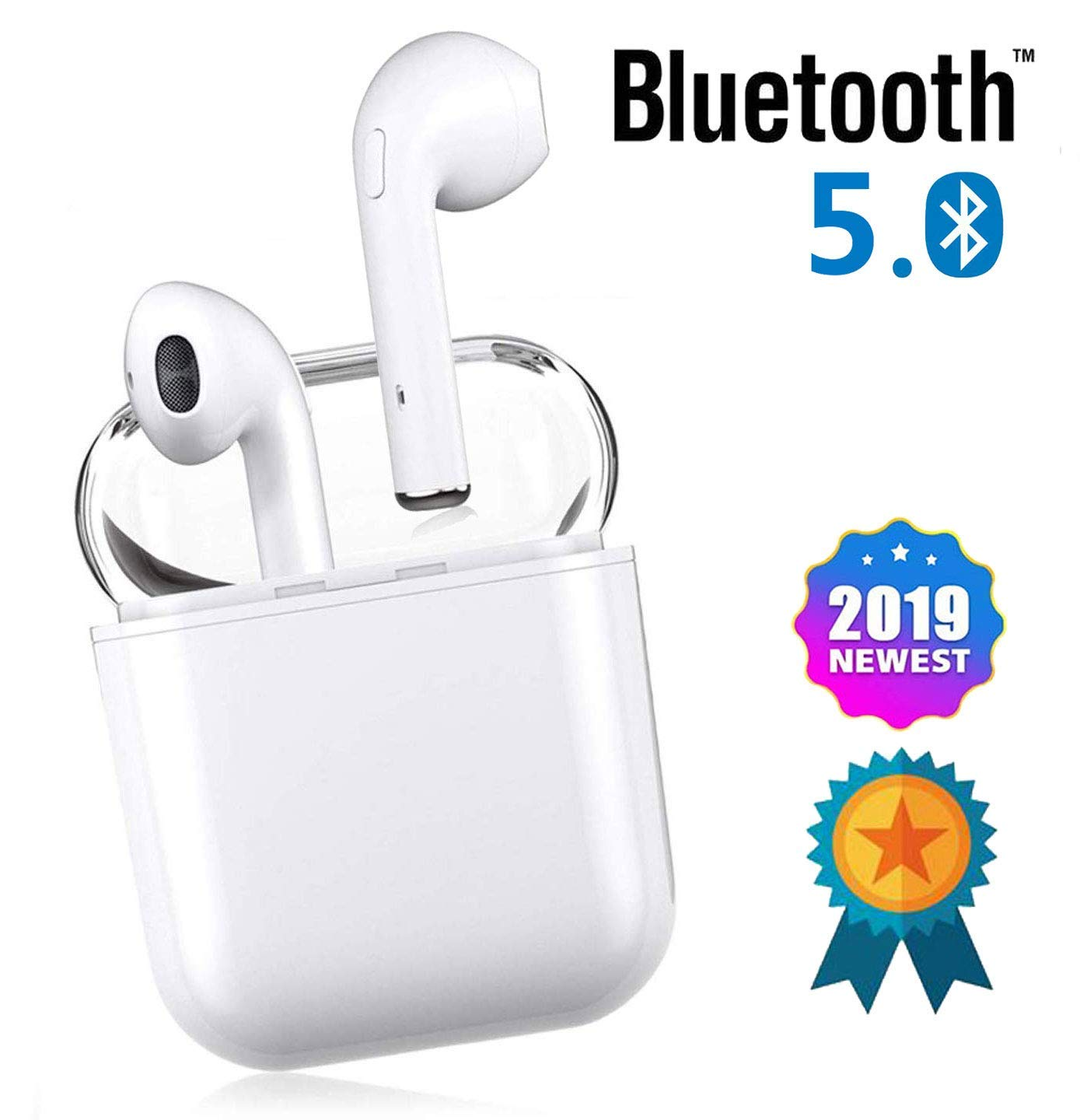 Bluetooth 5.0 Wireless Earbuds with 24Hrs Charging Case Waterproof Stereo Headphones in-Ear Built-in Mic Headset Premium Sound with Deep Bass for Sport Earphones Apple Airpod Wireless Earbud
