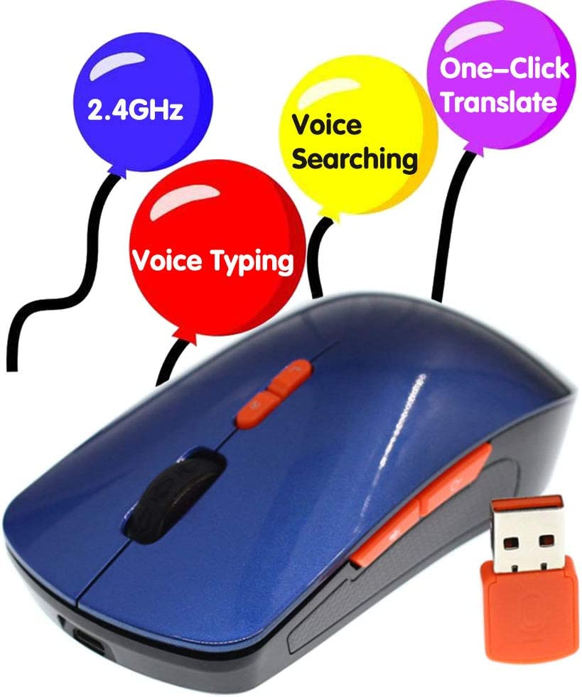 Wireless Voice Mouse Smart AI Wireless Voice Mouse Support Voice Typing//Searching//Translation,One-Click Translate Muti-Languages 2.4G Hz Voice Mouse for Windows//Laptop//PC//Computer