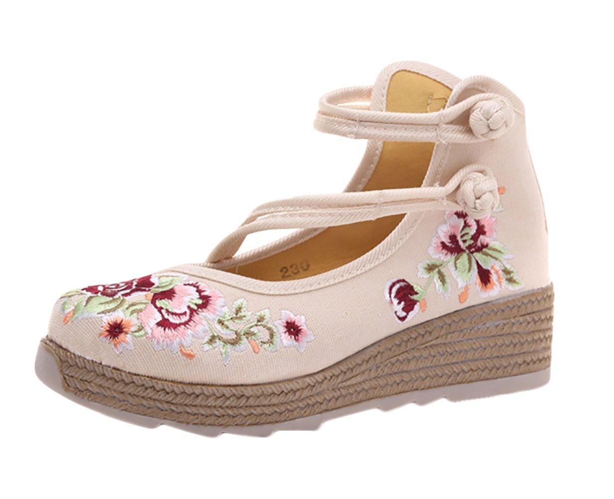 Insun Zapato Bailarinas con Correa Plataforma Hebilla Estilo Mary Jane 34 EU|Beige