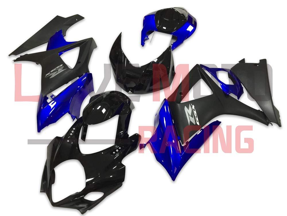 LoveMoto ブルー/イエローフェアリング スズキ suzuki GSXR1000 GSXR 1000 2007 2008 K7 07 08 GSX R1000 K7 ABS射出成型プラスチックオートバイフェアリングセットのキット ブラック ブルー   B07KG4G76T