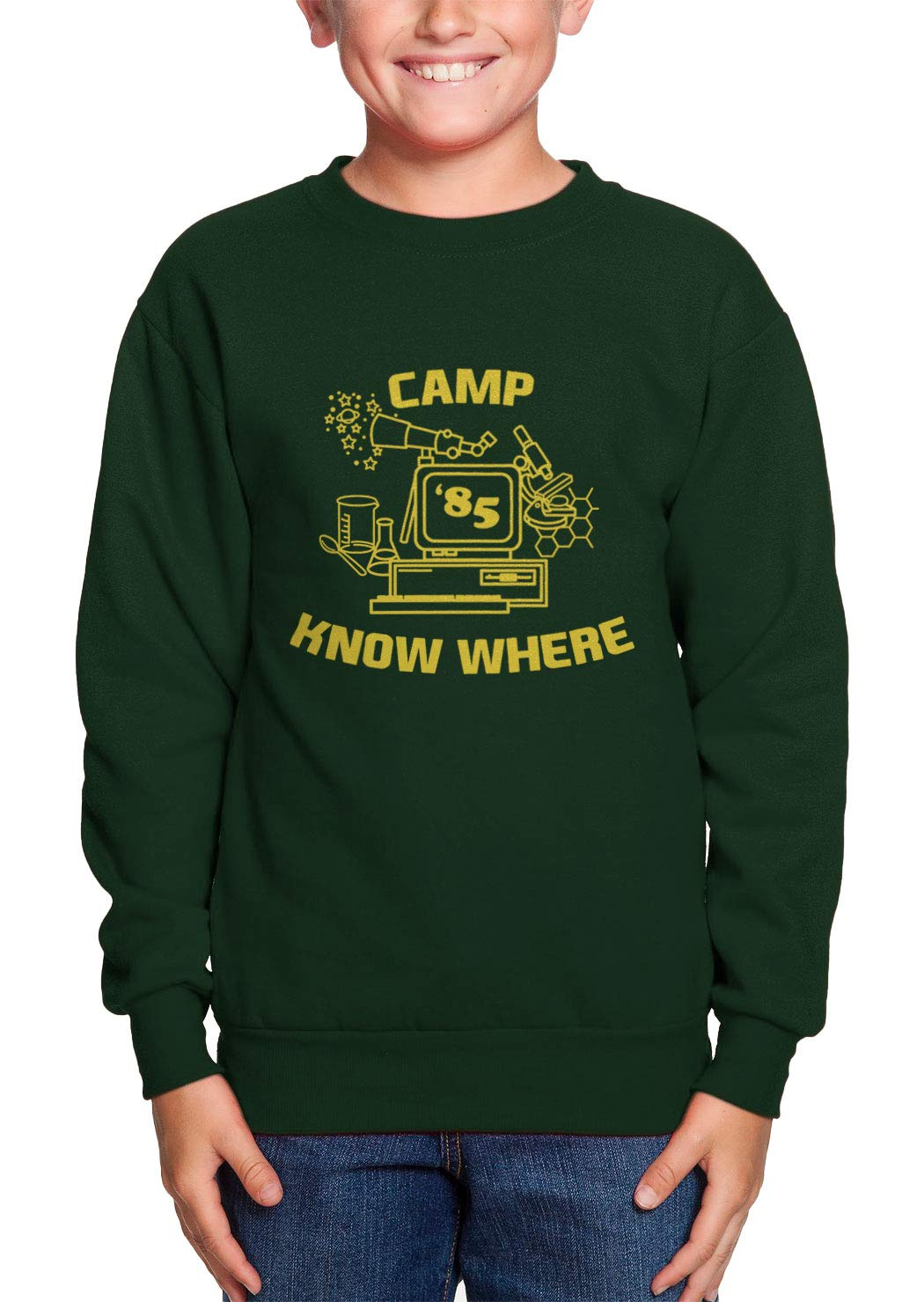 HAASE UNLIMITED Camp Know Where '85 - Strange TV Show Youth Fleece Crewneck Sweater (Forest Green, Large)