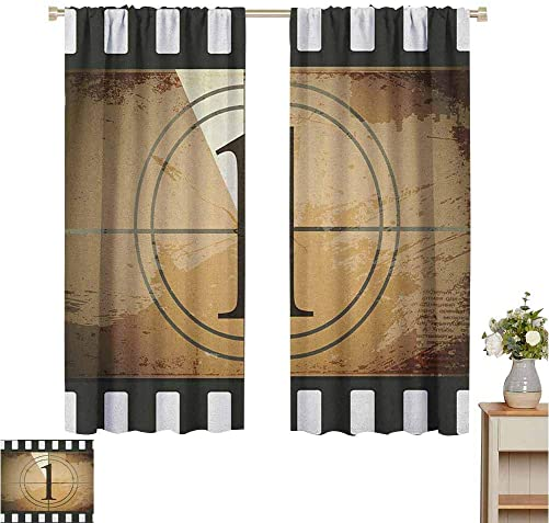 Black Out Window Curtain 2 Panel Movie Theater Grunge Countdown Frame