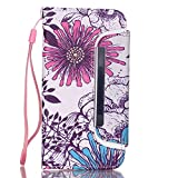 iPhone 5C Case, Firefish Flip Superior PU Leather Foldable Wallet Pouch Anti-Scratch Dual Protective Magnetic Closure Detachable Design Shell with Strap for Apple iPhone 5C-Flower