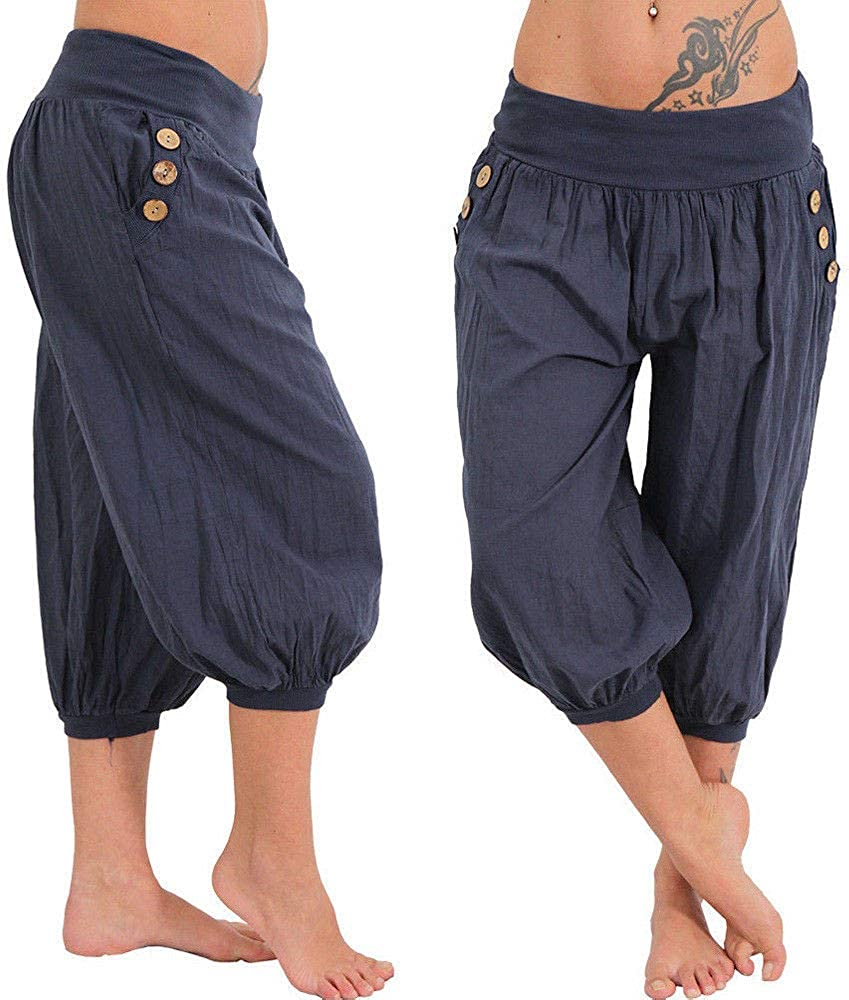 BBesty Save 15/% Womens Solid Color High Waist Elastic Waist Boho Check Sports Yoga Wide Leg Cropped Trousers