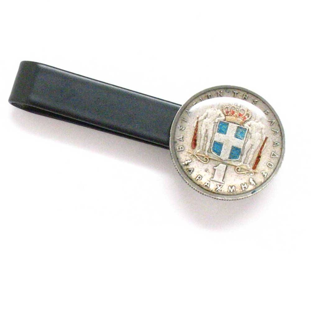 Greece Coin Tie Bar Clip Tiebar Tieclip Suit Vintage Style Flag Europe Greek ?????? ?????????