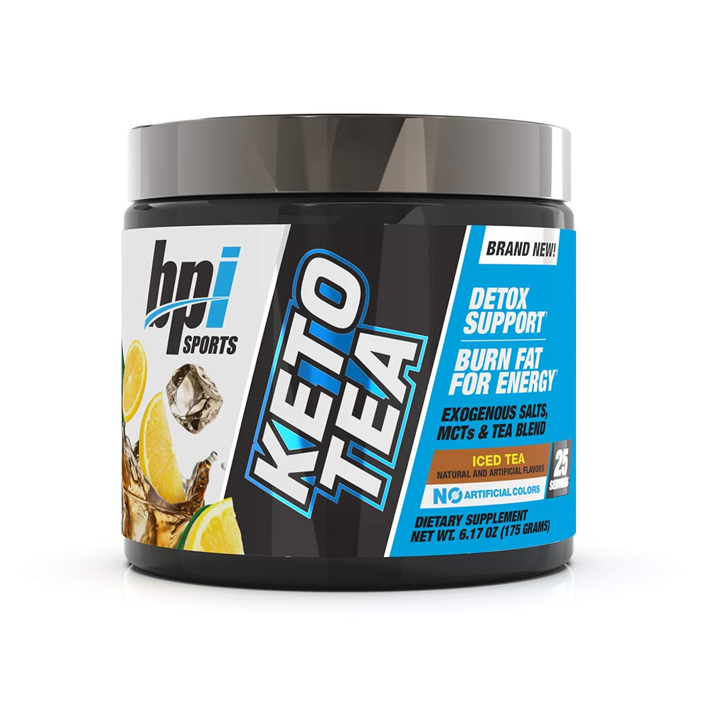 BPI Sports Keto Tea Hydration, Energy, Focus BHB Salts, MCTs, EGCG Detox Support Keto Diet Support Diuretic for Men Women No Artificial Colors Iced Tea – 25 Servings 6.17 oz.