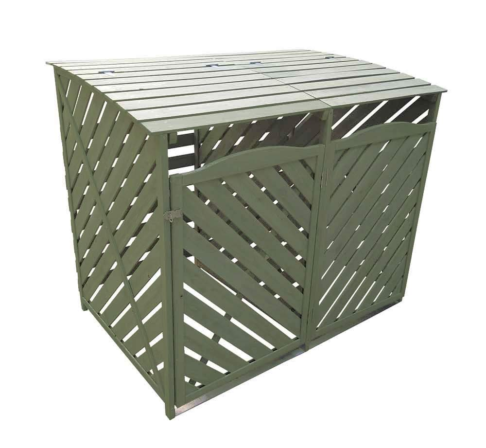 5060495610530 Double Wooden Wheelie Bin Storage Sage Green Garden Cover Recycling Outdoor Lifting Lids lockable