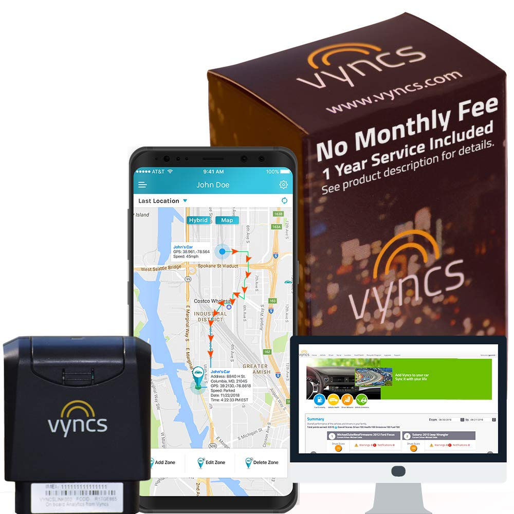 GPS Tracker VYNCS Premium No Monthly Fees OBD 3G Vehicle GPS Tracking, Teen Driver Safety Roadside Assistance