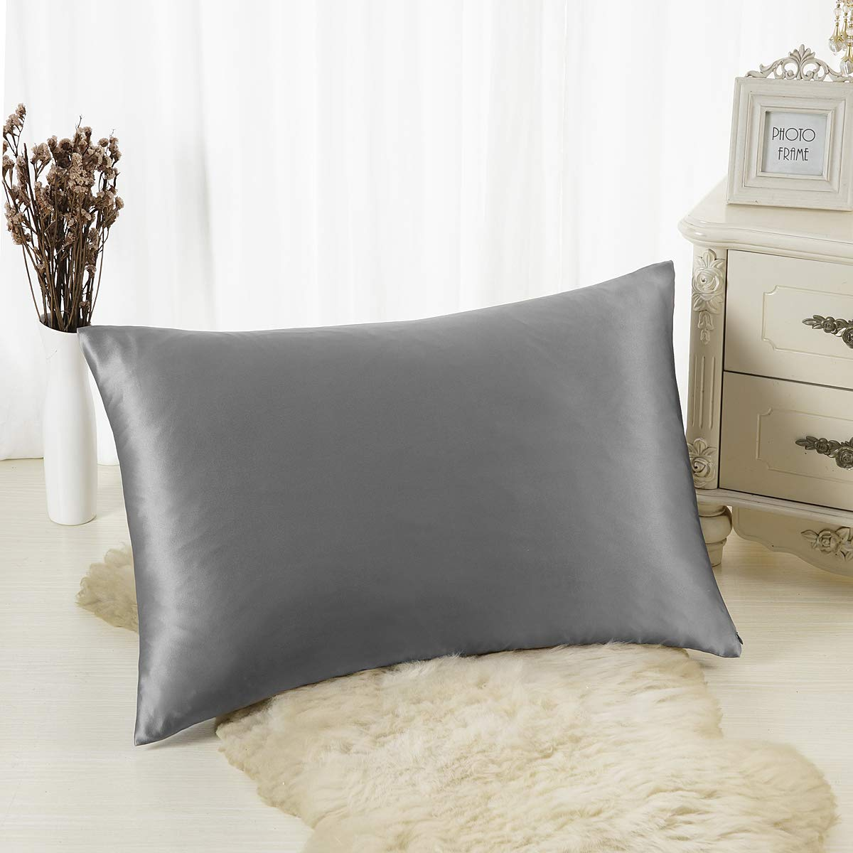ALASKA BEAR Natural Silk Pillowcase for Hair and Skin 19 Momme 600 Thread Count 100 Percent Hypoallergenic Mulberry Silk Pillow Slip Queen Size with Hidden Zipper (1, Iron Grey) by ALASKA BEAR (Image #2)