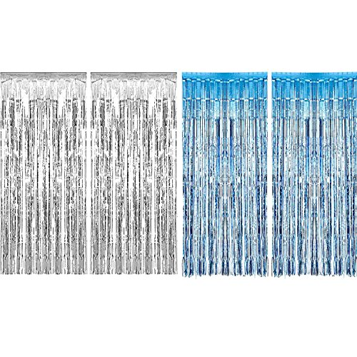 Metallic Silver Icicles - Sumind 4 Pack Foil Curtains Metallic Fringe Curtains Shimmer Curtain for Birthday Wedding Party Christmas Decorations (Silver and Light Blue)
