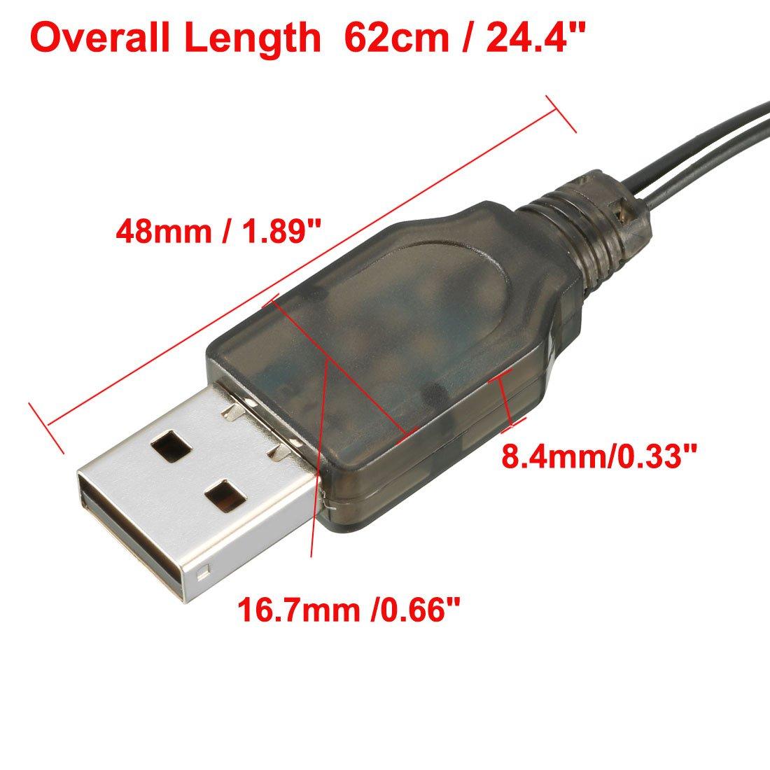 sourcingmap 2pcs SM-2P Positive USB Charging Cable for RC Car 3.6V 250mA Ni-MH Ni-CD Battery