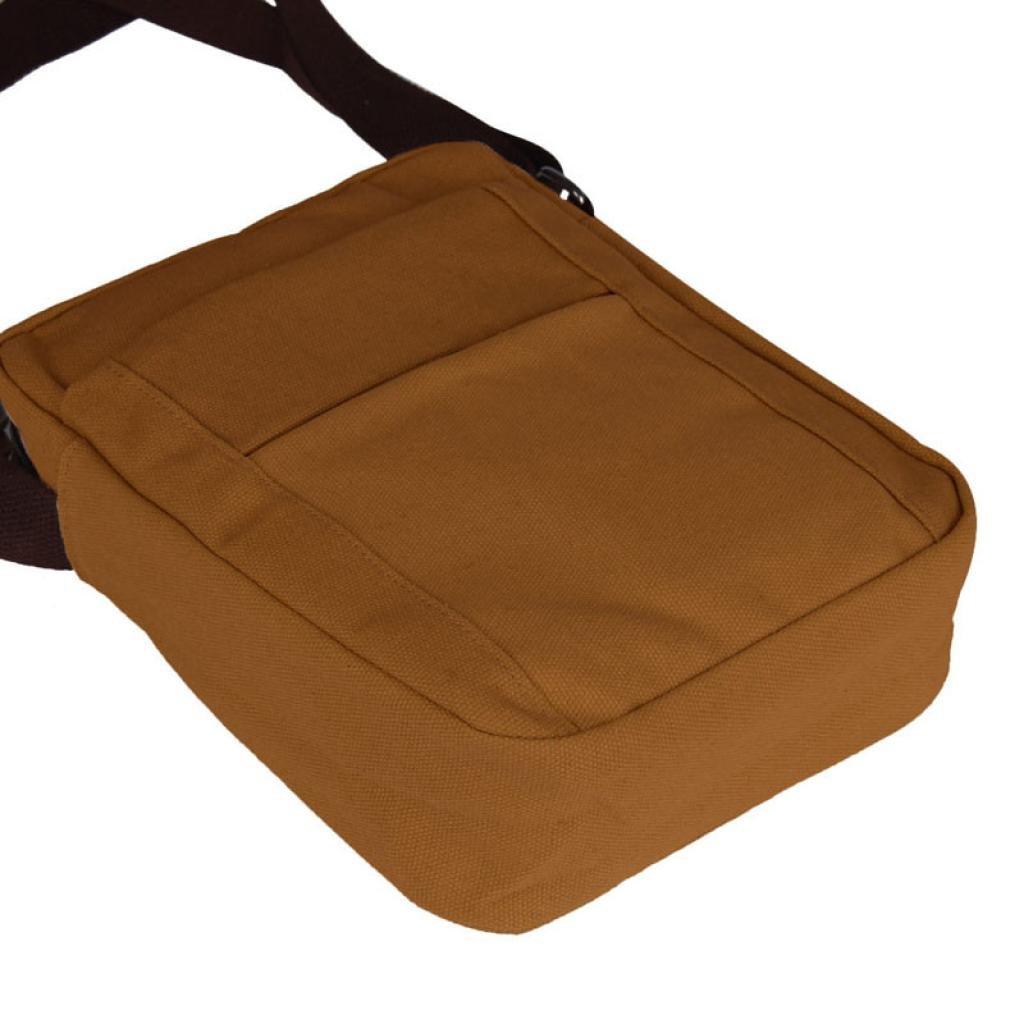 Pocciol Men Love Bags, Men's Fashion Design Canvas Shoulder Bag Crossbody Shoulder Bag Messenger Bag Work Bag (Brown) by Pocciol (Image #2)