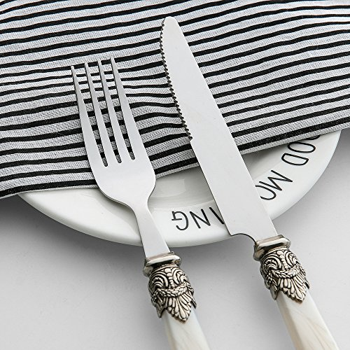 Handle Cutlery - Flatware Sets Stainless Steel Cutlery White Royal Tableware Noble Pearl Handle Dinnerware, 60 Pieces Knives, Forks, Tablespoons, Teaspoons, Dessert forks Set for 12
