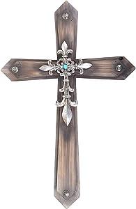 """21"""" Western Wall Wood Cross Faux Turquoise Bead Iron Fleur De Lis"""