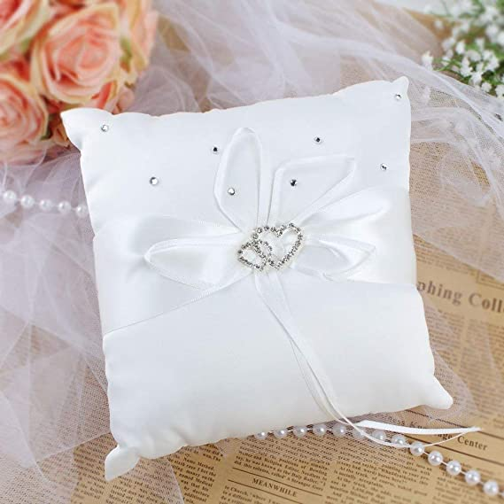 garter flower white clear purple wedding ring bearer pillow satin aluminium Butterfly