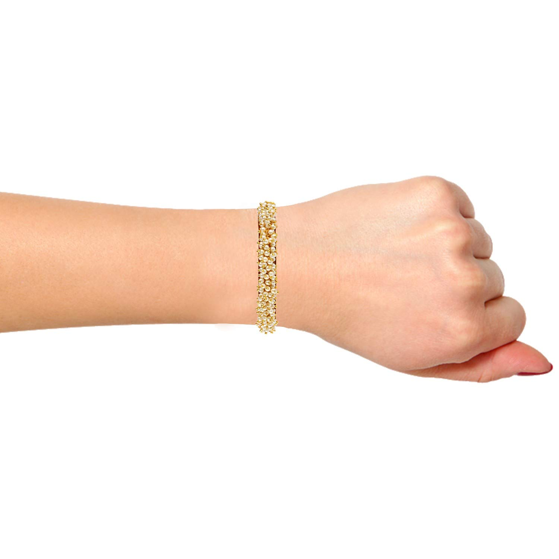Efulgenz Fashion Jewelry Indian Bollywood 14 K Gold Plated Faux Pearl Bracelets Bangle Set (2 Pieces) for Women by Efulgenz (Image #4)