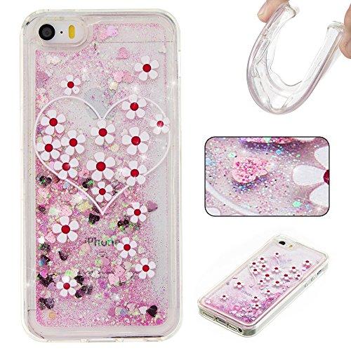 Silver Case Design Stars (Rosepark iPhone SE Case, iPhone 5S Case, iPhone 5 Case, 3D Creative Design Luxury Bling Glitter Sparkle Liquid Glitter and Stars Moving Quicksand TPU Case for iPhone 5/5G/5S/SE(Chrysanthemum&Silver))