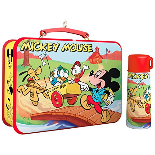 Retro Thermos (Hallmark Keepsake 2017 Disney Mickey and Friends Mickey Mouse Lunchbox and Thermos Christmas Ornaments, Set of 2)