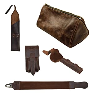 Hide & Drink, Barber Mega Pack (Set of 5), Leather Razor Strop, Case for Straight Razor, Double Edge Safety Razor & Brush, and Toiletry Bag, For Shaving, Handmade 101 Year Warranty :: Bourbon Brown