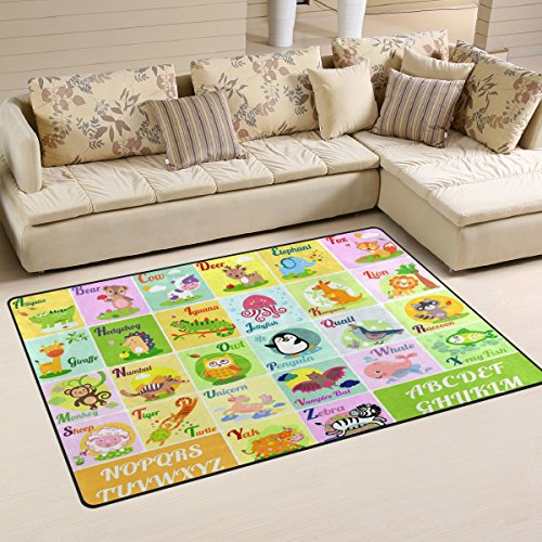 WOZO Alphabet ABC Cute Animal Area Rug Rugs Non-Slip Floor Mat Doormats for Living Room Bedroom 60 x 39 (Alphabet Elephant Rug)