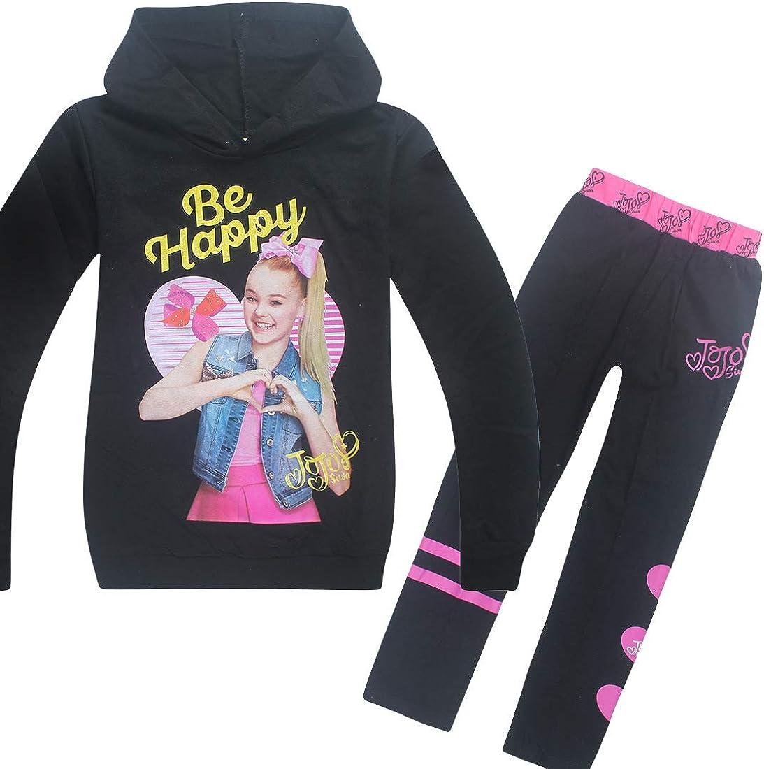 "Wazonton JoJo Siwa Hoodies Casual Shirt Tops and Trouser Printed with /""Be Happy/"""