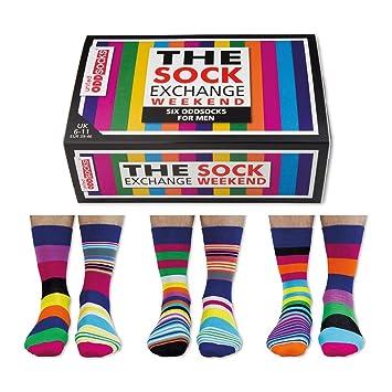 The Sock Exchange Weekender - Calcetines para hombre (desparejados, 6 unidades, tallas 39 a 46), multicolor: Amazon.es: Hogar