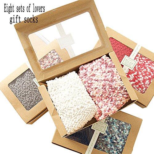 Couple Floor Socks Pearl Wool Sleep Socks Non-Slip Warm Eight Boxes of Gift Sets by Tan home