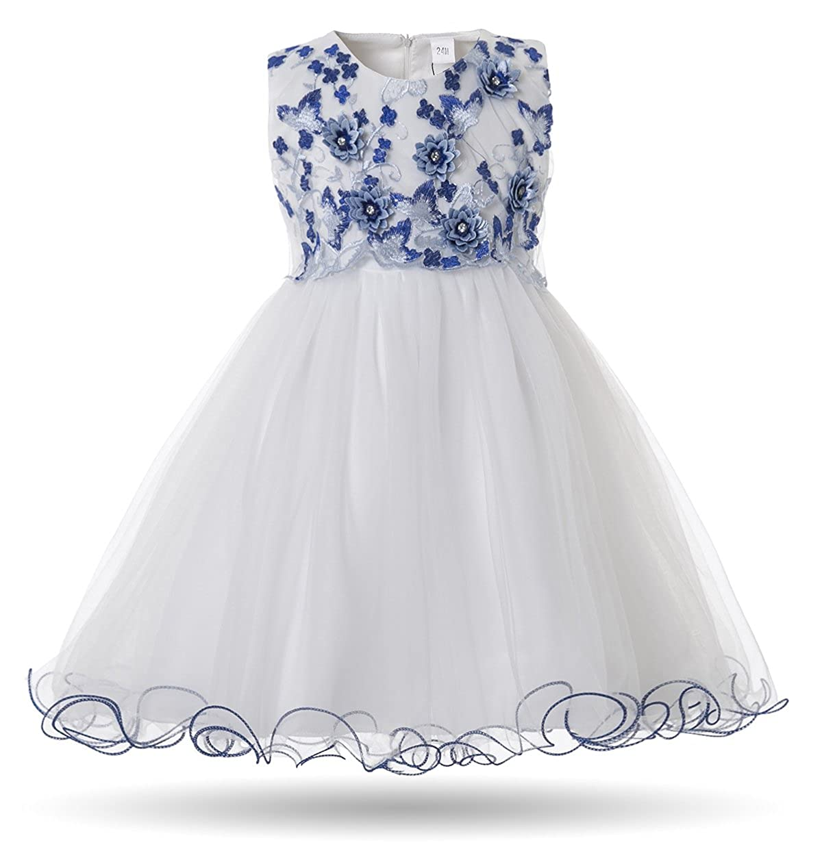 def04c1a9 Amazon.com: CIELARKO Baby Girl Dress Infant Flower Lace Wedding Party  Dresses for 0-24 Months ...: Clothing
