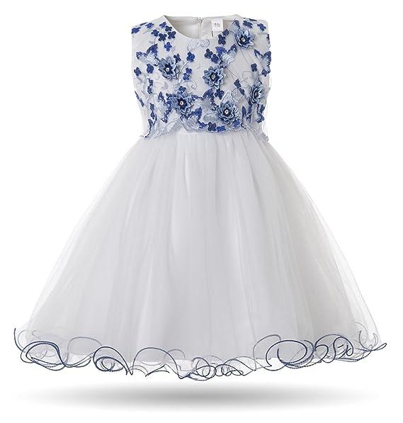 bca7294895b9 CIELARKO Vestito neonata Bimba Principessa Cerimonia Battesimo Elegante  Bambina Floreale Abiti Bianco  Amazon.it  Abbigliamento